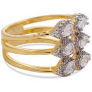 Tistabene Retails Pear Stones Beautiful Designer Two Tone Plated Fashionable Cocktail Ring For Women and Girls (RI-0661)