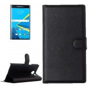 Para Blackberry Priv Litchi Texture Horizontal Flip Funda De Cuero Con Hebilla Magnetica Y Titular Y Ranuras Para Tarjetas Y Cartera (negro)