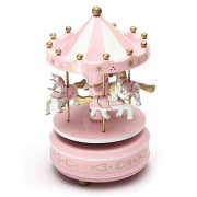 pink : Carousels - SODIAL(R)Musical carousel horse wooden carousel music box toy child baby pink game