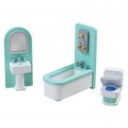 Mobilier baie pentru casuta papusi Tidlo, lemn, 4 piese, 25 x 19 x 9 cm, 3 ani+