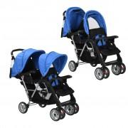 vidaXL Tandem Stroller Steel Blue and Black