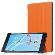 Notesz / mappa tok - NARANCS - oldalra nyíló flip cover, TRIFOLD asztali tartó funkciós, mágneses záródás - Lenovo Tab 7