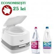 PACHET QUBE-145L: Toaleta PORTA POTTI QUBE 145 + solutie dizolvare deseuri + solutie igienizare
