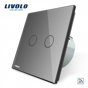 Intrerupator dublu wireless cu touch Livolo din sticla, gri
