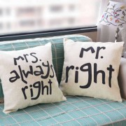 Mr Right and Mrs Always Right Couple Valentine Cushions