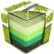 Lumânare parfumată în pahar în trei culori - ceai verde