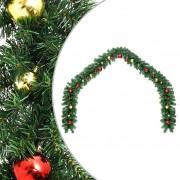 vidaXL Коледен гирлянд, декориран с топки, 5 м