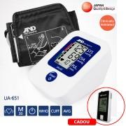 Tensiometru automat cu masurare pe brat, A&D Medical UA-651, validat clinic + Glucometru Fora GD50