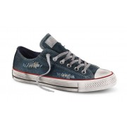 Converse Sneakers Scarpe Canvas Denim Destroyed Ox, Taglia: 39,5, Unisex, Blu, 156743C 400