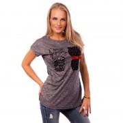 V&V Dámské tričko s aplikací koček - tmavě šedé (L / XL) - V&V