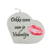 Valentijn hartkaars - Dikke zoen van je valentijn