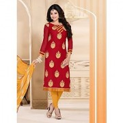 Swaron Yellow And Red Silk Embroidered Salwar Suit Dress Material (Unstitched)