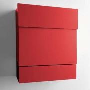 Radius Design Letterman 5 Briefkasten rot (RAL 3020) ohne Klingel mit Pfosten in Briefkastenfarbe