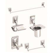 5 Pieces Stainless Steel Bathroom Accessories Set-(1-Soap Dish 1- Tumbler Holder 1- Towel Rod -24 1- Napkin Ring 1-Robe Hook)-Omni Series