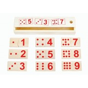 Montessori Educational Toy Wooden Domino Number Puzzles Set. Self-Correcting Puzzle Pieces Teach Counting and Numeral Recognition. Help Your Child Learn Math Skills and Have Fun
