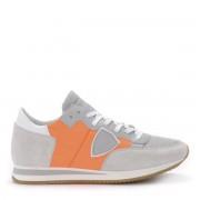 Philippe Model Sneaker Philippe Model Tropez in suede e pelle grigia e tessuto arancione fluo