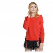 E-Thinker Camisa Cuello Redondo Manga Larga Sólido Color Pull-over Mujer-Rojo