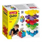 Joc creativ Qubo Quercetti, cu piese multicolore de stivuit si blocuri de constructie tip puzzle