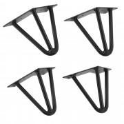 [en.casa]® Štýlové stolové nohy 3 – sada nôh (4 kusová) - 15 cm - čierne