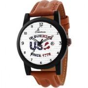 Jack Klein Stylish White Dial Brown Strap Analog Wrist Watch