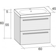 Ansamblu mobilier Riho cu lavoar ceramic 60cm gama Belluno, Set 01 Gloss