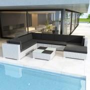 vidaXL Outdoor Lounge Set 24 Pieces Poly Rattan White