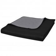 vidaXL Obojstranná posteľná prikrývka, šedočierna, 170 x 210 cm