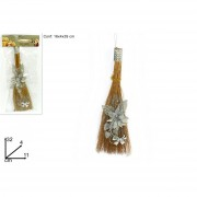 Mini scopa da befana con decorazione color argento 32 cm 199783 649