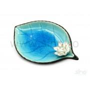 Suport betisoare parfumate frunza cu floare de lotus alb-roza (cod F108-2)