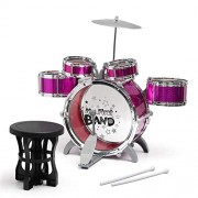 shree rajaram toys Music Jazz Big Size Musical Drum Set with 5 Drums, Cymbal and Chair (Pink)