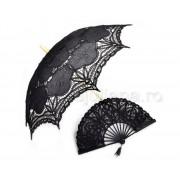 Evantai si umbrela de dantela neagra