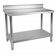 Mesa de trabalho em aço inoxidável - 120 x 60 cm - com rebordo