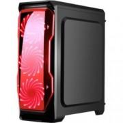 Кутия Segotep HALO 1, ATX/mATX, 1x USB 3.0, 2x 120mm вентилатори с червена подсветка, черна, без захранване