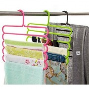 sell net retail Wardrobe Cloth Hangers 5 Layer Space Saving Hangers Pack of 3 (Multi-Color)