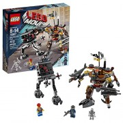 Lego Year 2014 The Lego Movie Series Battle Scene Set #70807 Metalbeards Duel With Metal Beard With Arm Cannons, Pirate Sword With Holster, Shark Arm Plus Micro Manager With Opening Hatch, Big Feet And Claws Plus 3 Minifigures: Skeletron, Robo Swat And Fr
