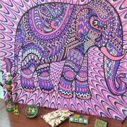 EW Bohemia tapiz de impresión en casa púrpura elefante L-elefante rosa púrpura