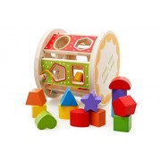 Joyeee Wooden Baby Shape Color Recognition Intelligence Sorter - Cylinder Shaped Early Education Shape Colour Number Sorting and Stacking Blocks Toy - Perfect Christmas Gift Idea