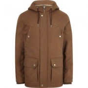 River Island Mens Brown hooded borg lined jacket
