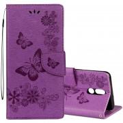 Para Huawei Mate 10 Lite Estampado Floral Vintage Mariposa Patron Funda De Cuero Flip Horizontal Con Ranura De La Tarjeta Y El Titular Y La Cartera Y Lanyard (purpura)
