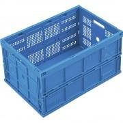 Faltbox aus Polypropylen Inhalt 60 l, ohne Deckel blau, Ausführung durchbrochen