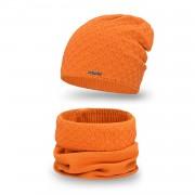 Komplet PaMaMi, czapka i komin - Pomarańczowy