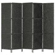 vidaXL Параван за стая, 5 панела, черен, 193x160 cм, воден хиацинт