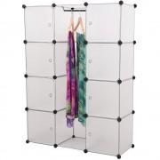 [neu.holz]® Ruhásszekrény 8 fakkos tároló ajtós szekrény 145 x 110 x 37 cm kombinálható polcrendszer ruhaakasztóval fehér