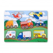 Puzzle Melissa and Doug Vehicule, lemn, 8 piese, 3 ani+