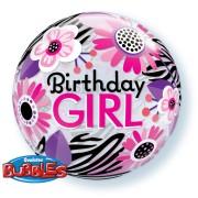 Birthday Girl Floral Zebra Stripes Bubble Balloon