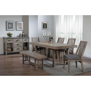 6 pc Codie collection distressed gray finish wood dining table set with bench