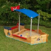 KidKraft 199 cm Sonderform Sandkasten Pirate mit Schutzbezug KidKraft