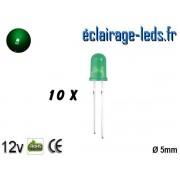 Lot de 10 LEDs vertes diffusante 5000 mcd 525 nm 30° ref ld-03