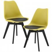 [en.casa]® Дизайнерски столове, комплект от 2 броя,83 x 48 см,Горчица/Черен