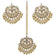 Lucky Jewellery Desiger Golden Color Gold Plated Kundan Earring Tikka Set For Girls And Women